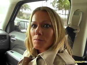 Adorable blonde is driving around with dirty dude