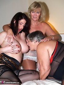 Old and young lesbian threesome - hot sex in stockings