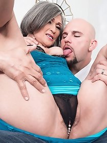 Horny male fucking grandma in dark lingerie