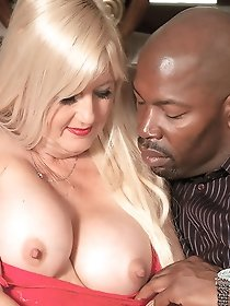 Busty blonde babe seduces ebony male