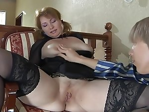 Redhead mature bitch in stockings