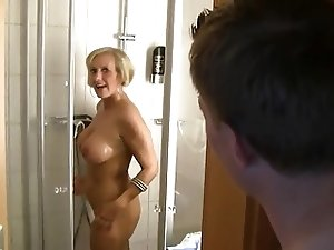 German Mature Shower Anal