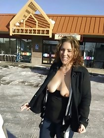Horny moms strip naked in public