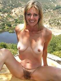 Blonde MILF has a rest outside the city