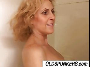 Dirty old spunker Dana loves the taste of cum