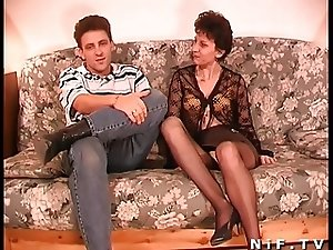 Hairy French mature gets anal fucked