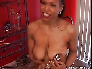 Mature black amateur has lovely big tits a nice round ass