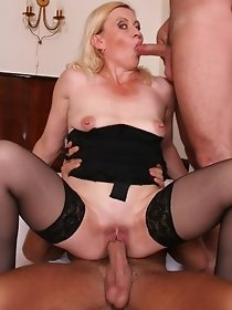 Two males fucking blonde mom in dark stockings